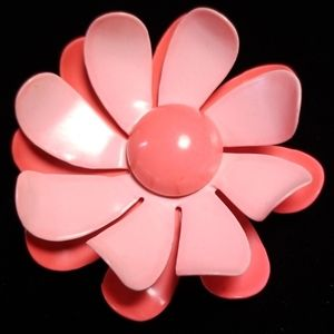 Vintage Salmon Flower Brooch Pin MINT Condition